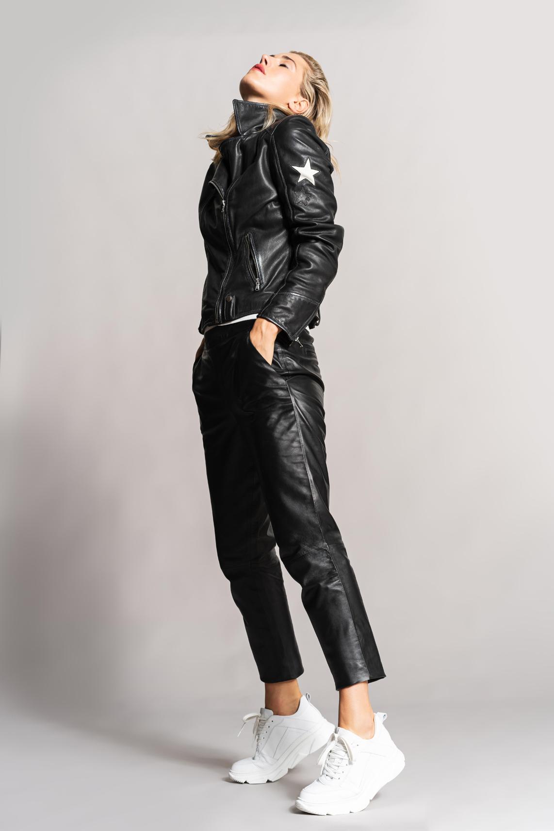 Anna Dames Leren broek zwart