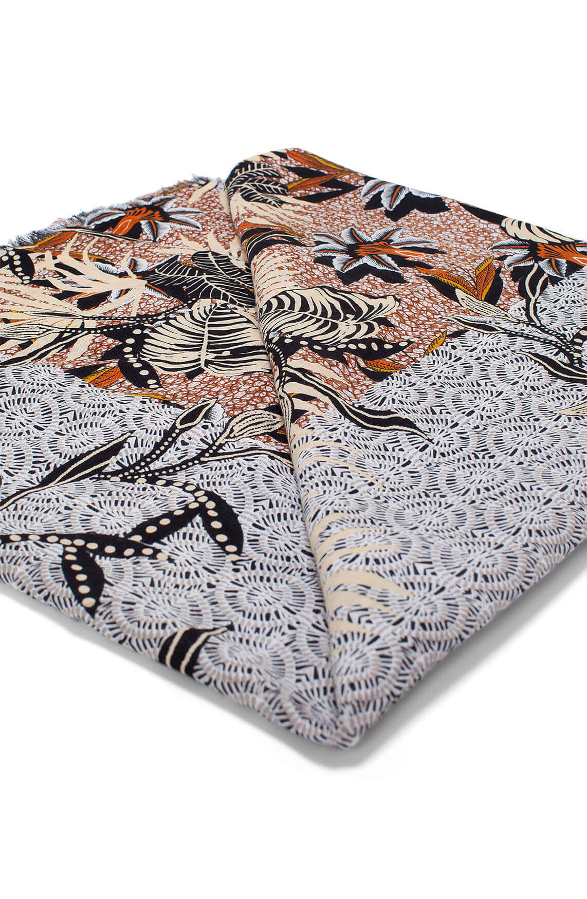 Anna Dames Geprinte shawl Bruin