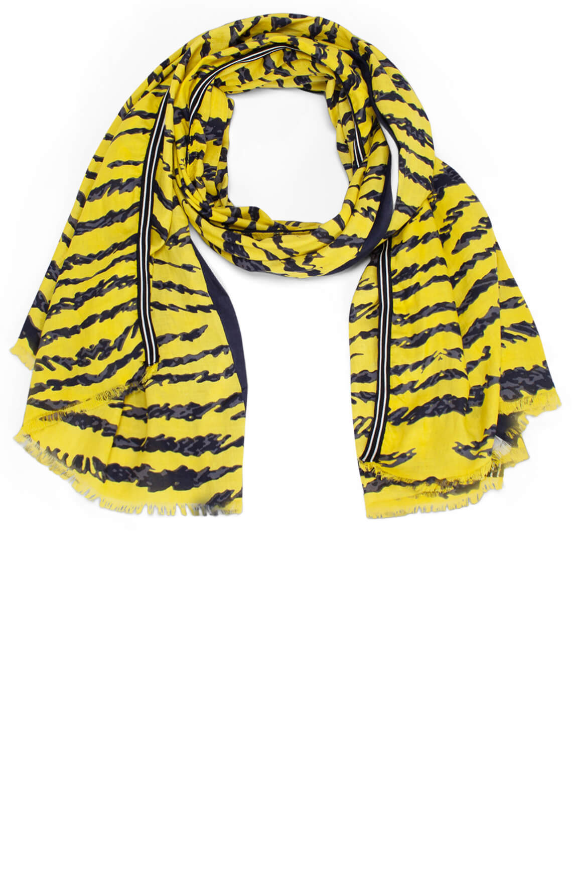 Anna Blue Dames Shawl met animalprint geel