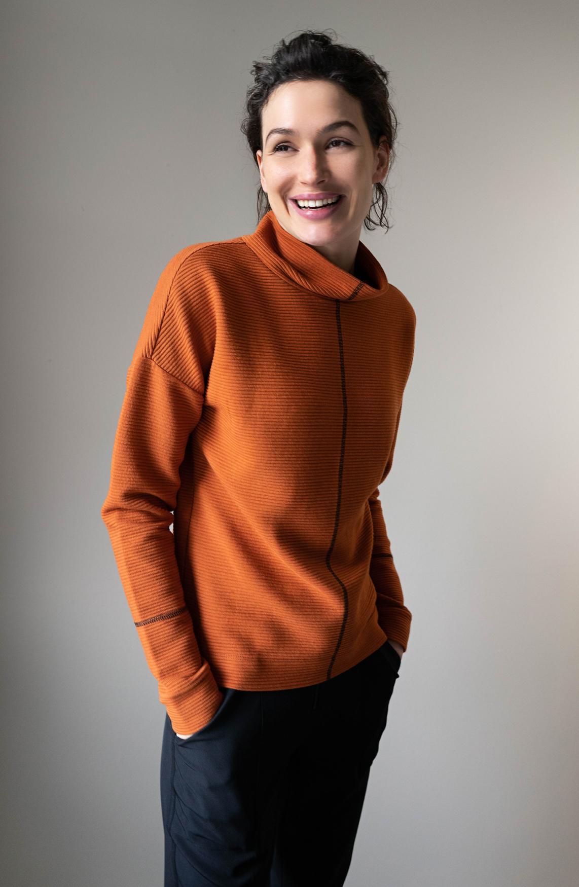 Anna Dames Sweater met ribstructuur Oranje