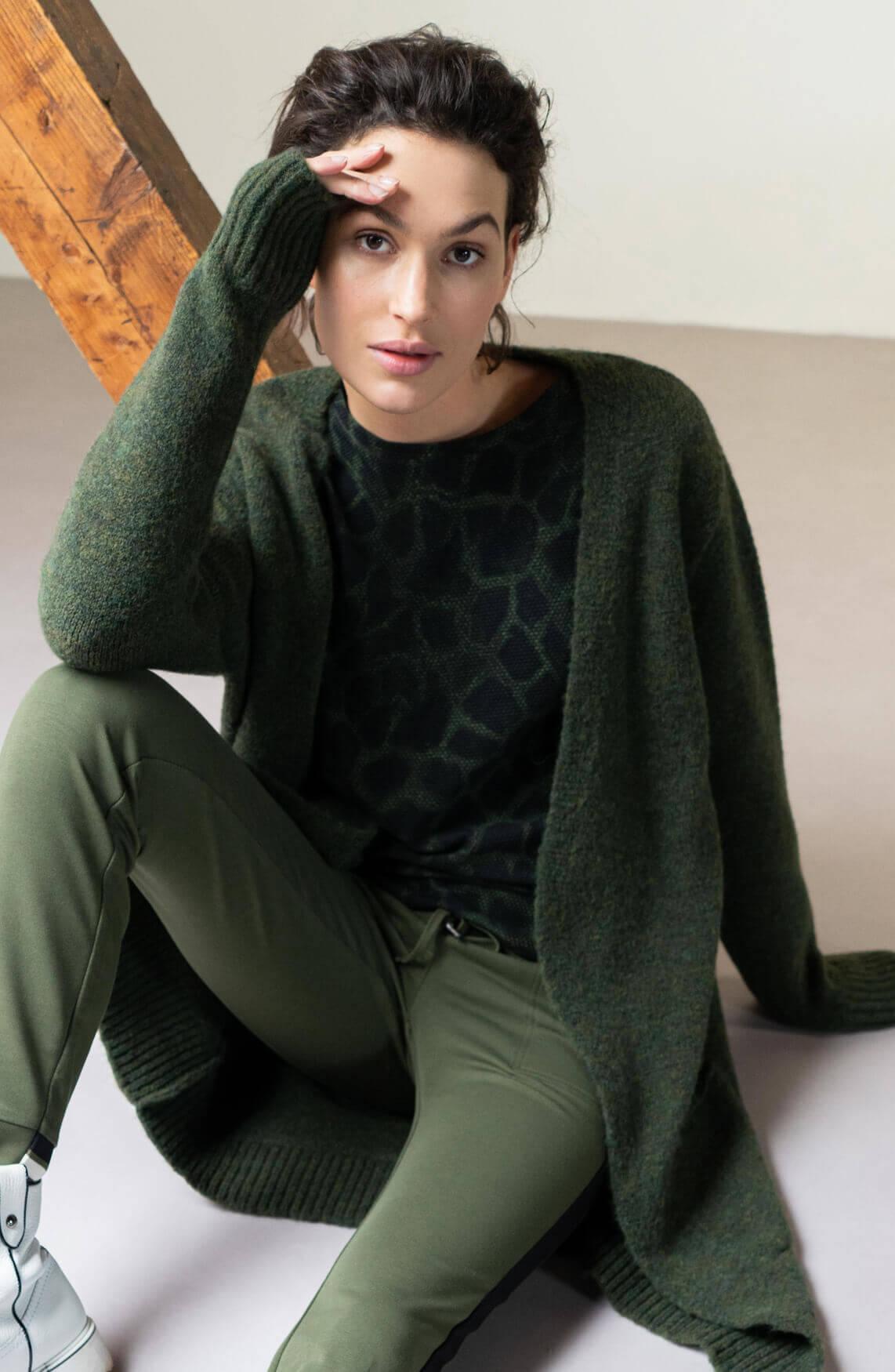 Anna Dames Sweater met giraf print groen