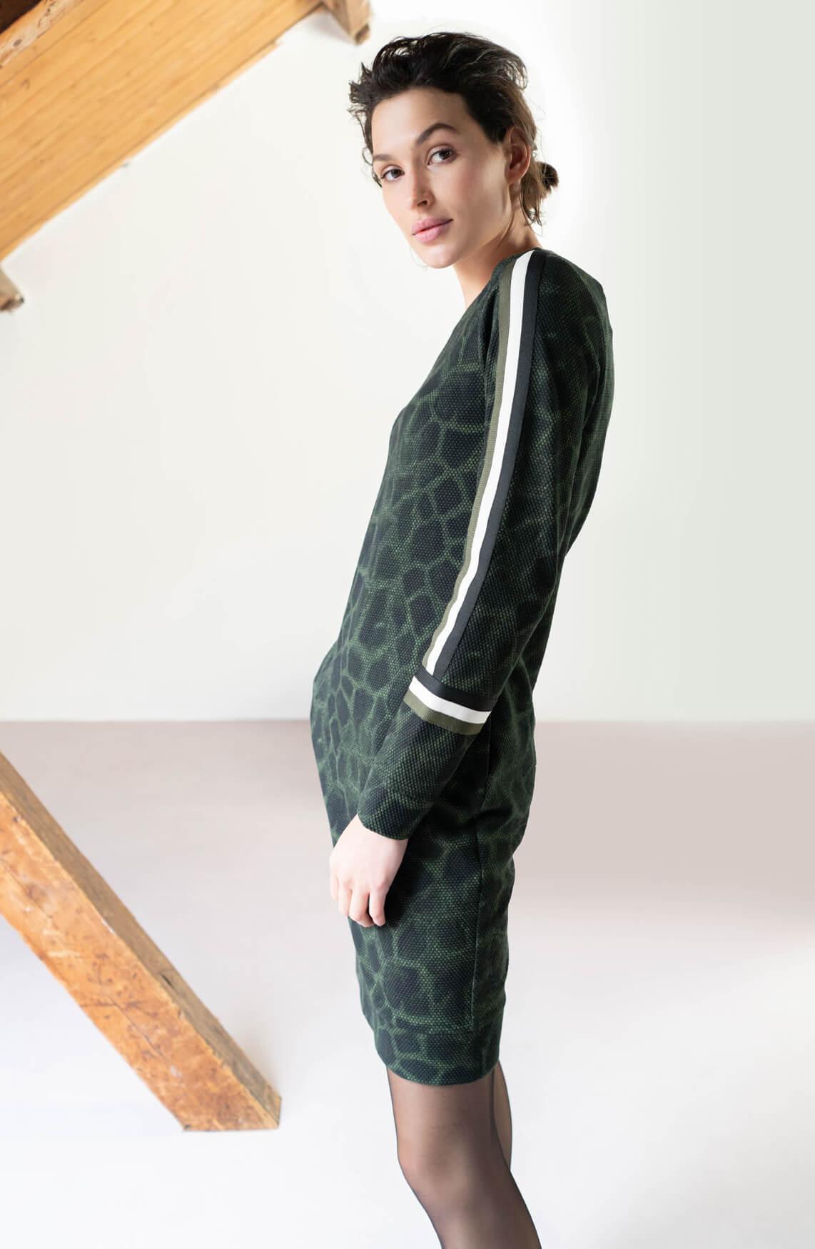 Anna Dames Jurk met giraf print groen