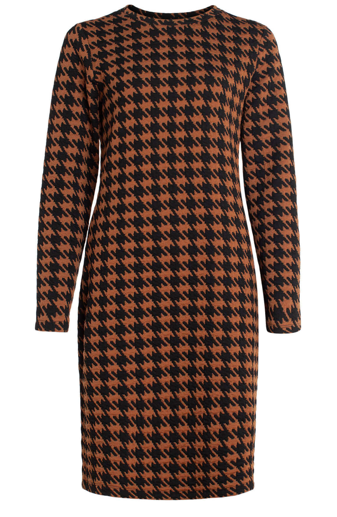 Anna Dames Pied-de-coq jurk Bruin