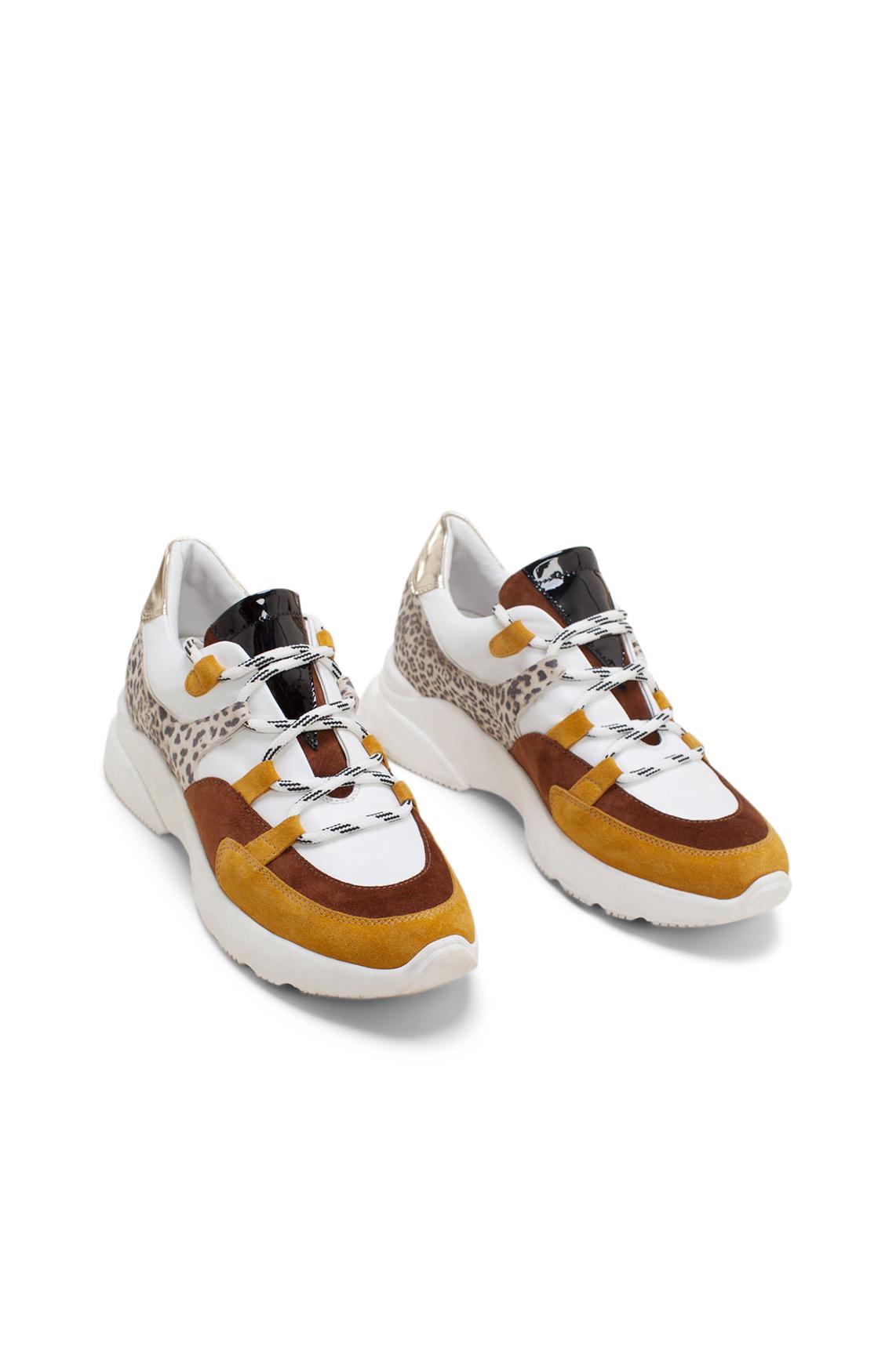 Hip Dames Sneaker met panterprint detail geel
