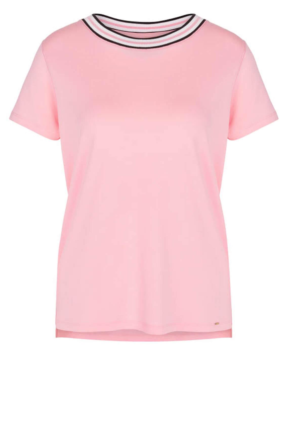 Marccain Dames Shirt met gestreepte hals roze
