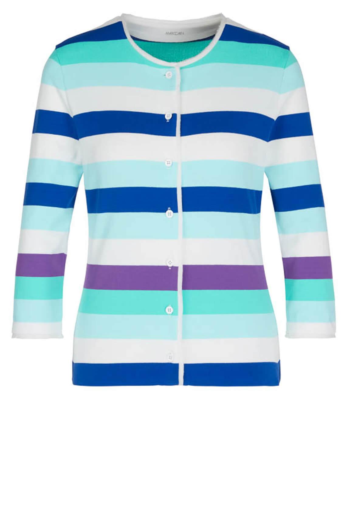 Marccain Dames Vest met blokstrepen Blauw
