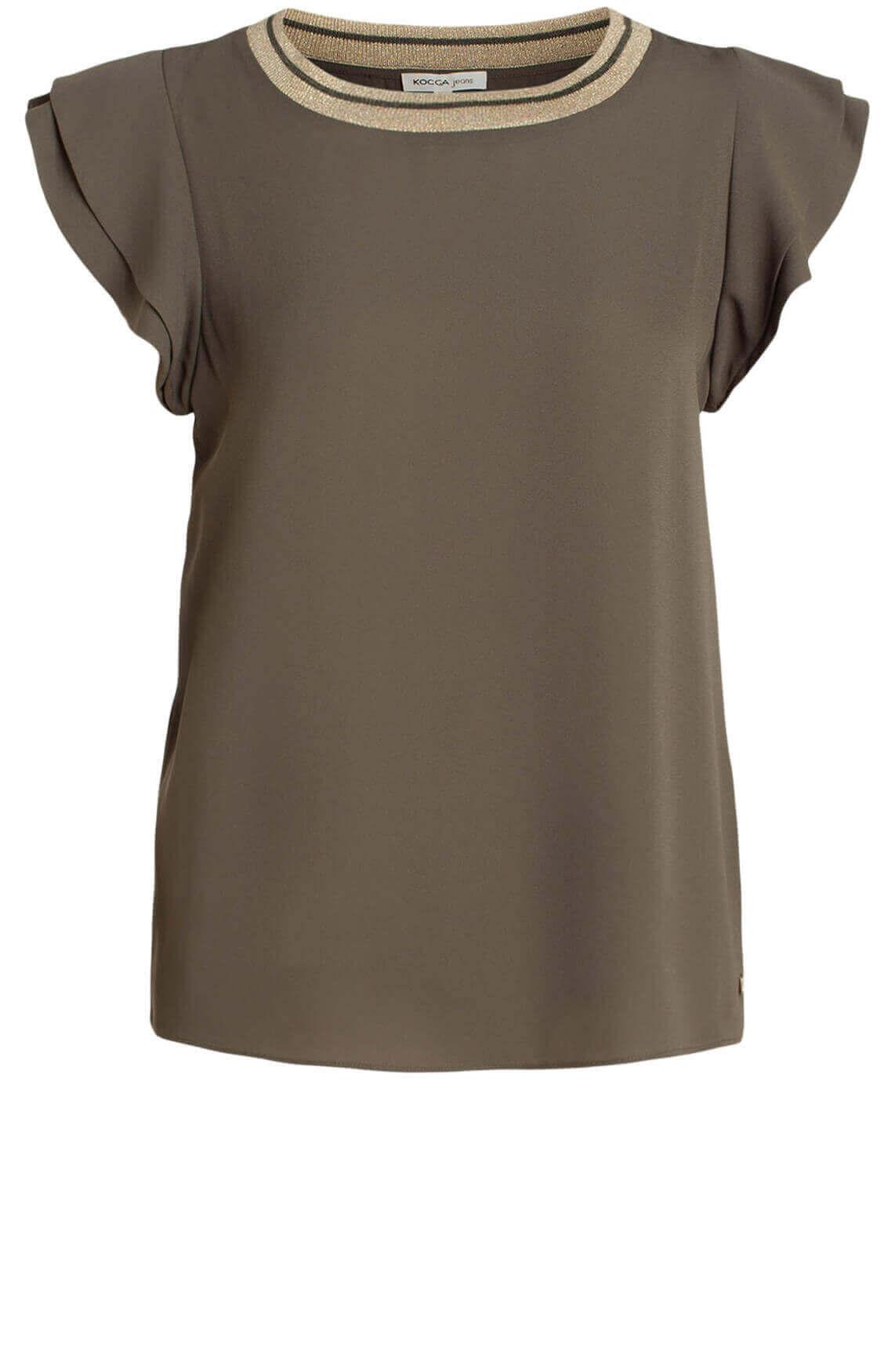 Kocca Dames Habit blouse met lurex groen
