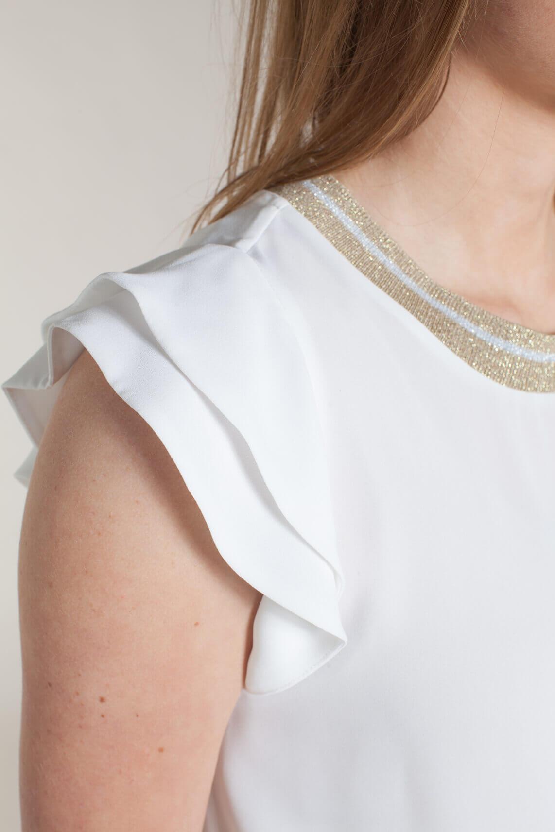Kocca Dames Habit blouse met lurex kraag wit