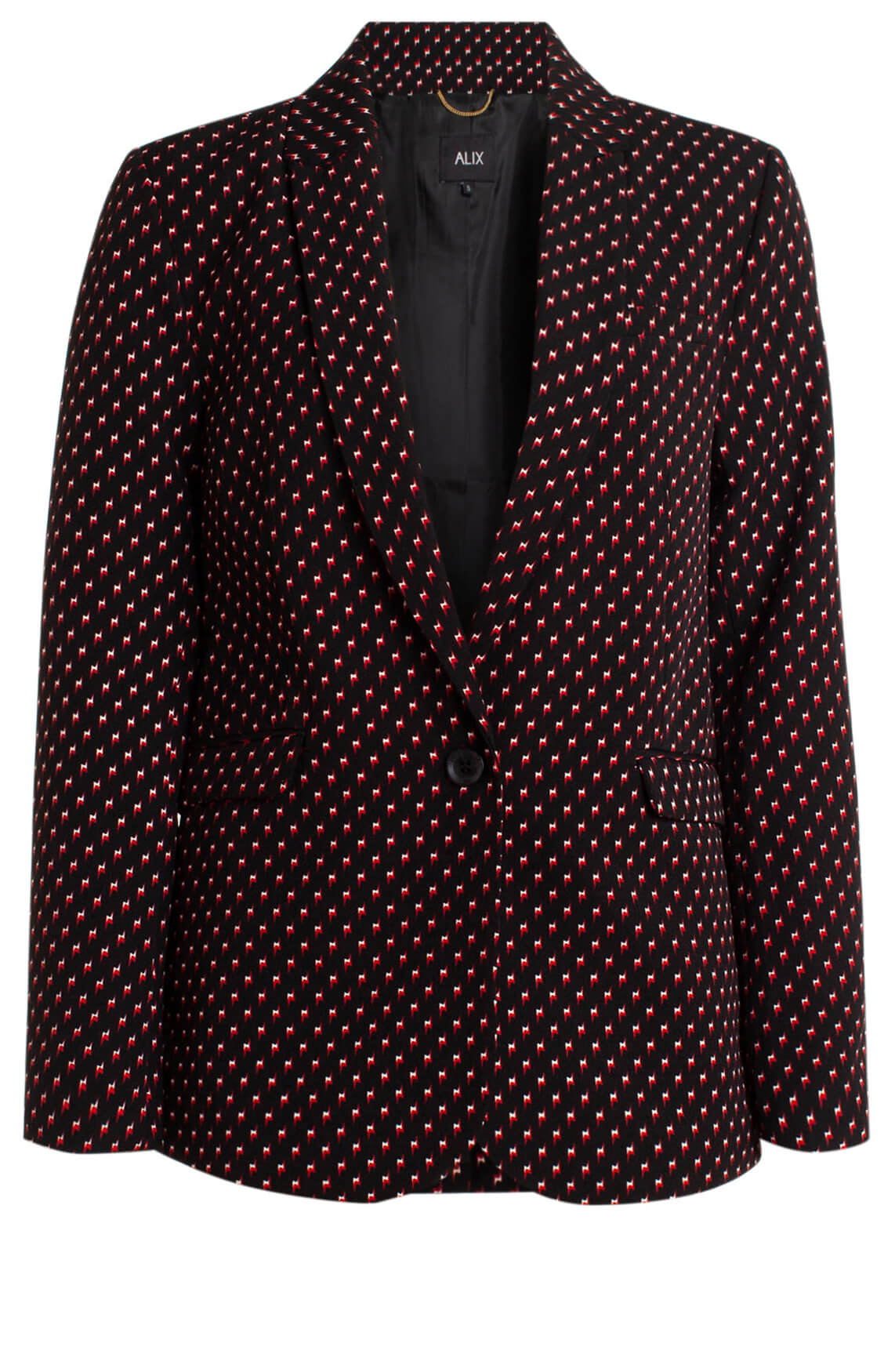 Alix The Label Dames Blazer met bliksemprint zwart