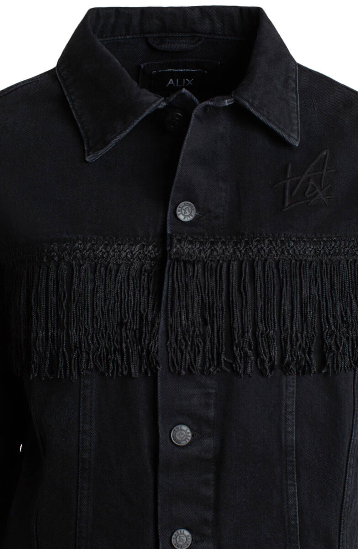 Alix The Label Dames Denim jack met franjes zwart