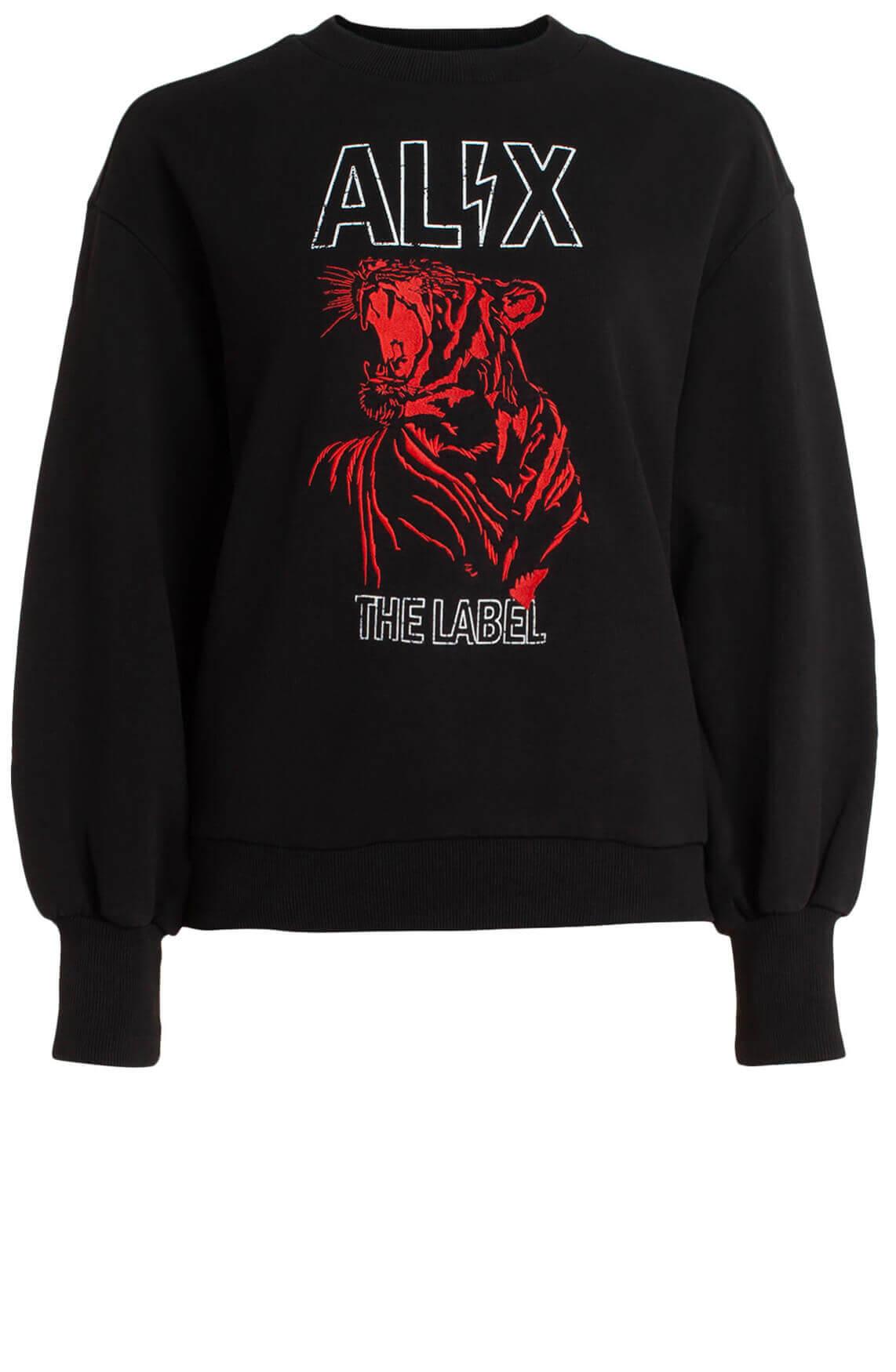 Alix The Label Dames Sweater met geborduurde opdruk zwart