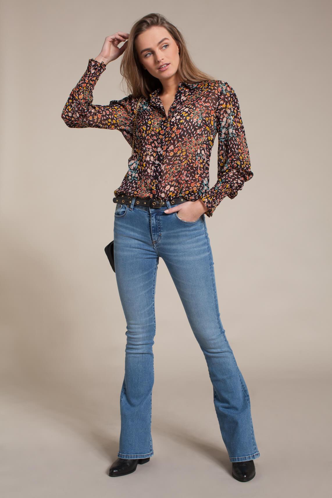 Alix The Label Dames Chiffon blouse met print zwart