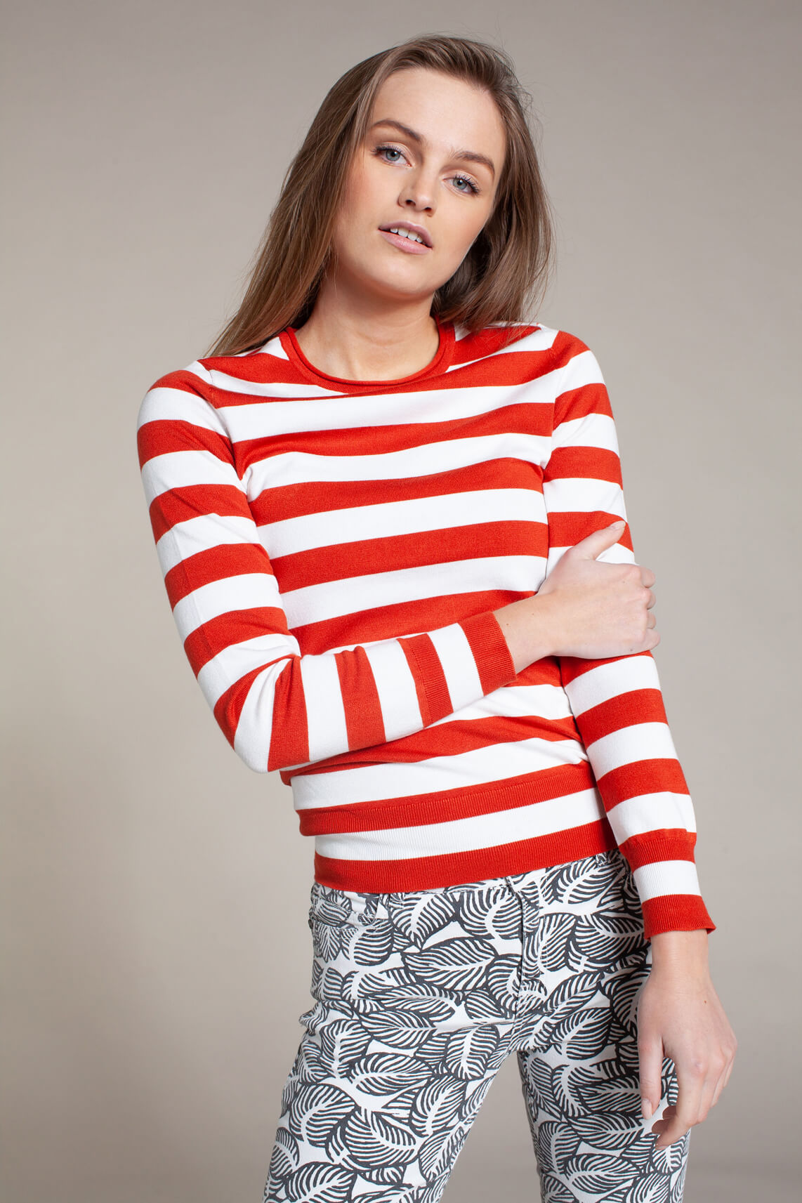 Anna Dames Gestreepte pullover Rood