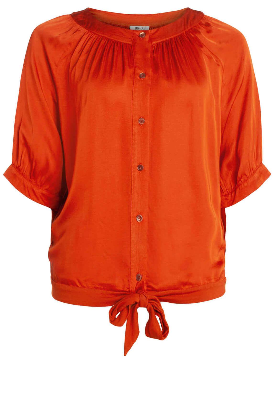 Anna Dames Satijnen blouse Rood