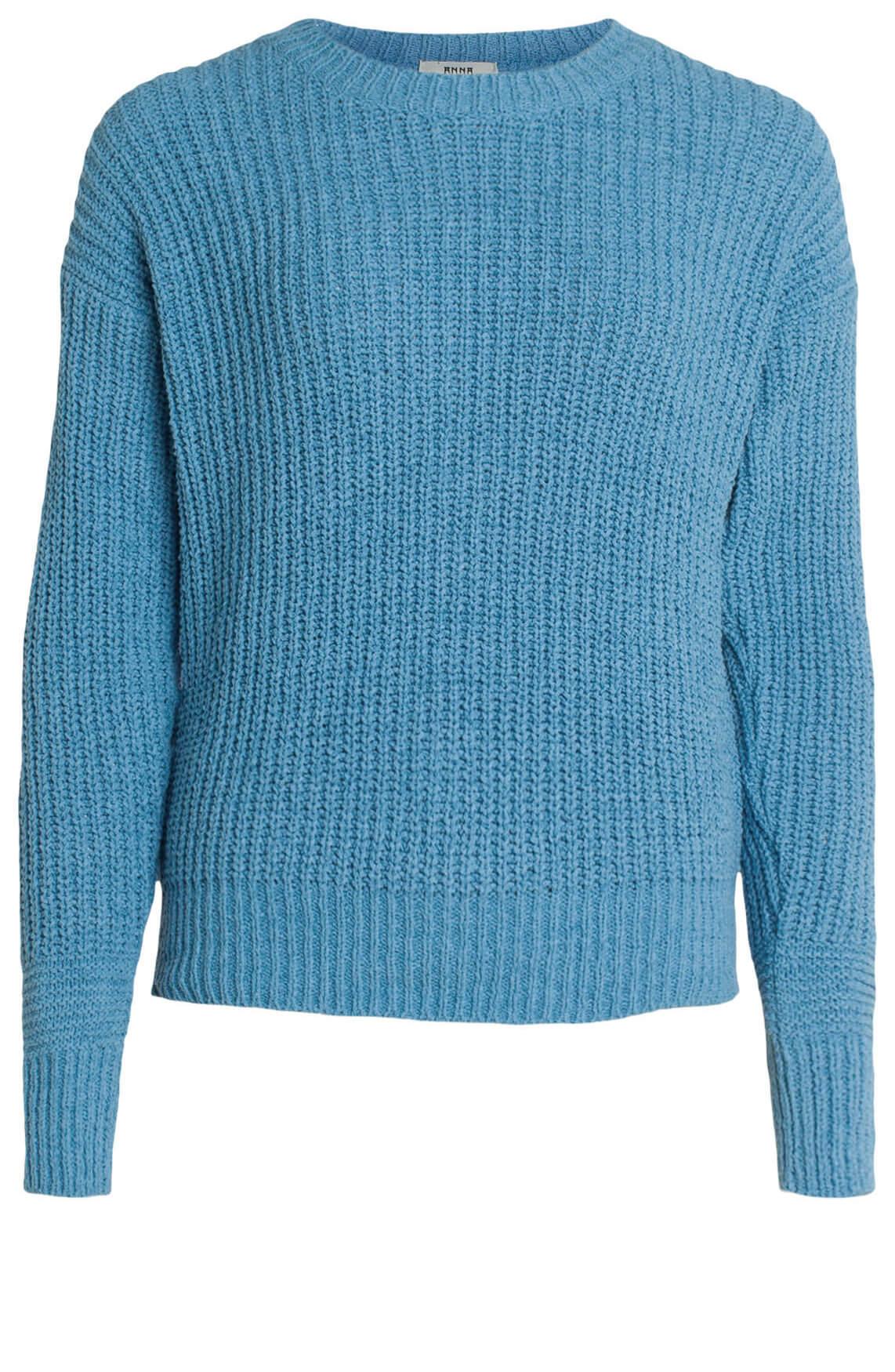 Anna Dames Ribgebreide pullover Blauw