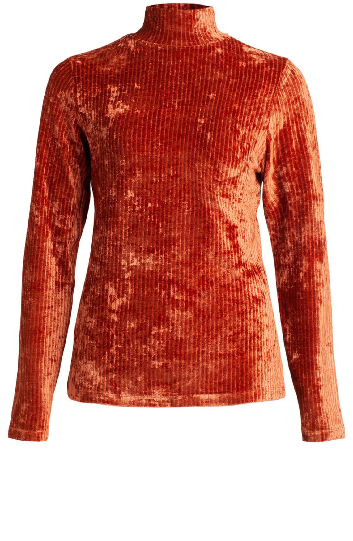 Anna Dames Velvet shirt Oranje