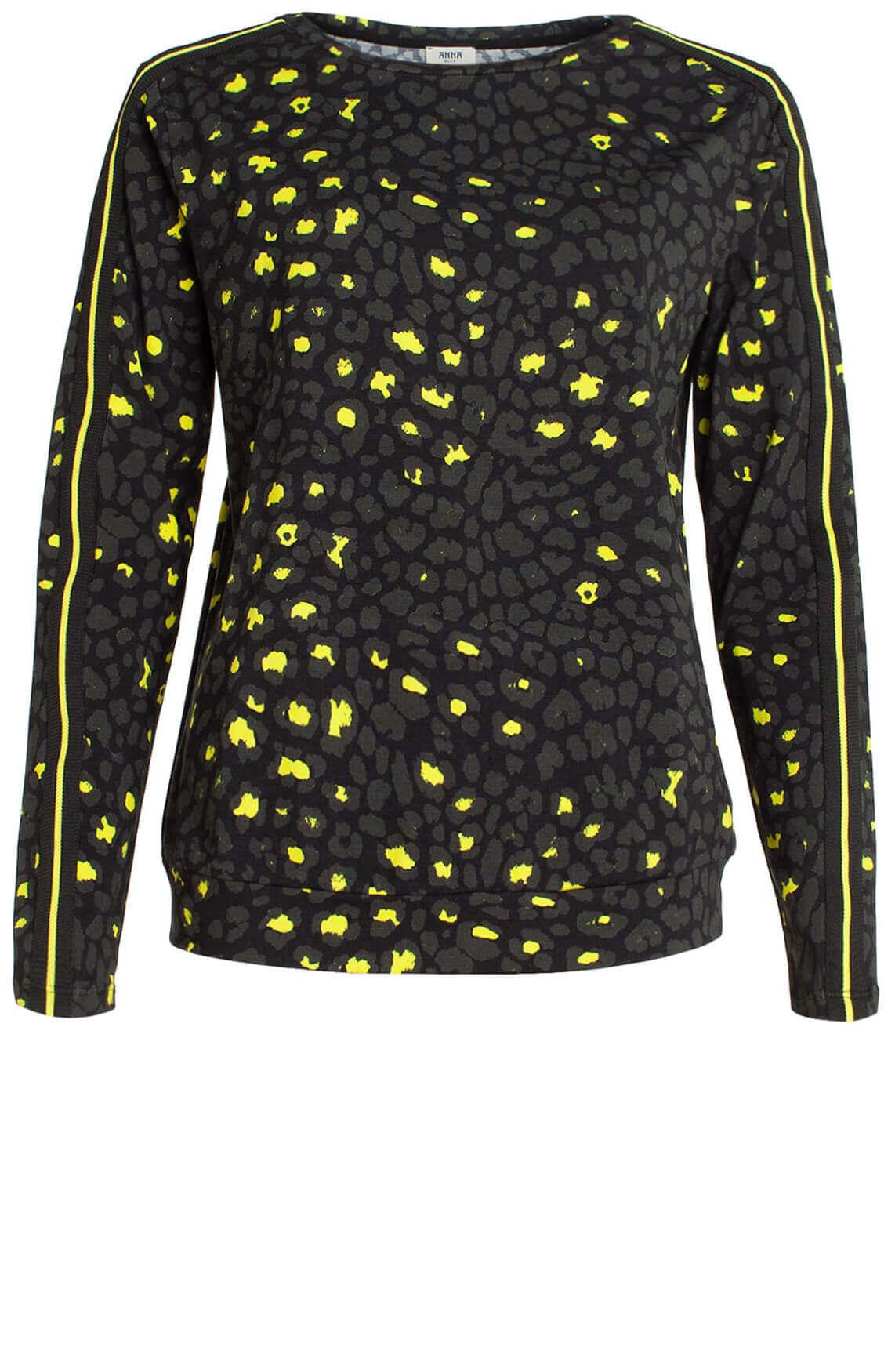 Anna Blue Dames Shirt met panterprint zwart