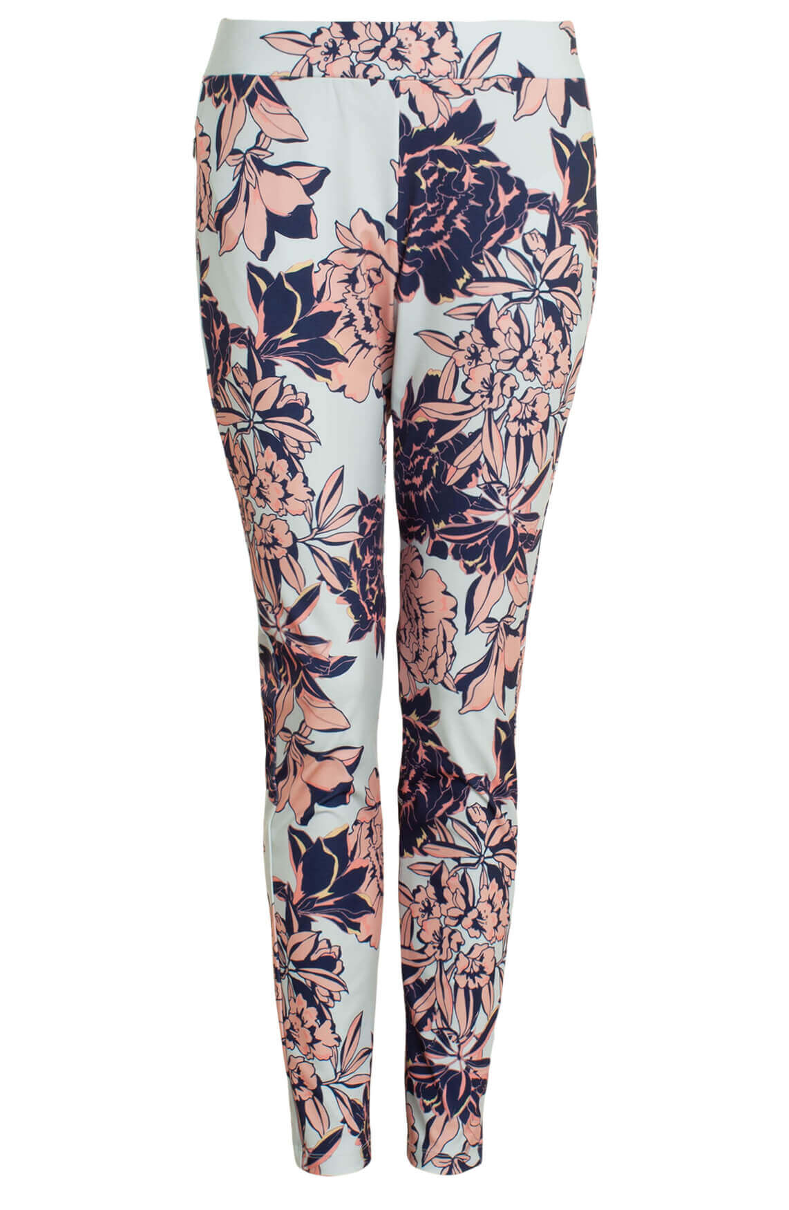 Anna Blue Dames Jersey sensitive broek met floral print Blauw