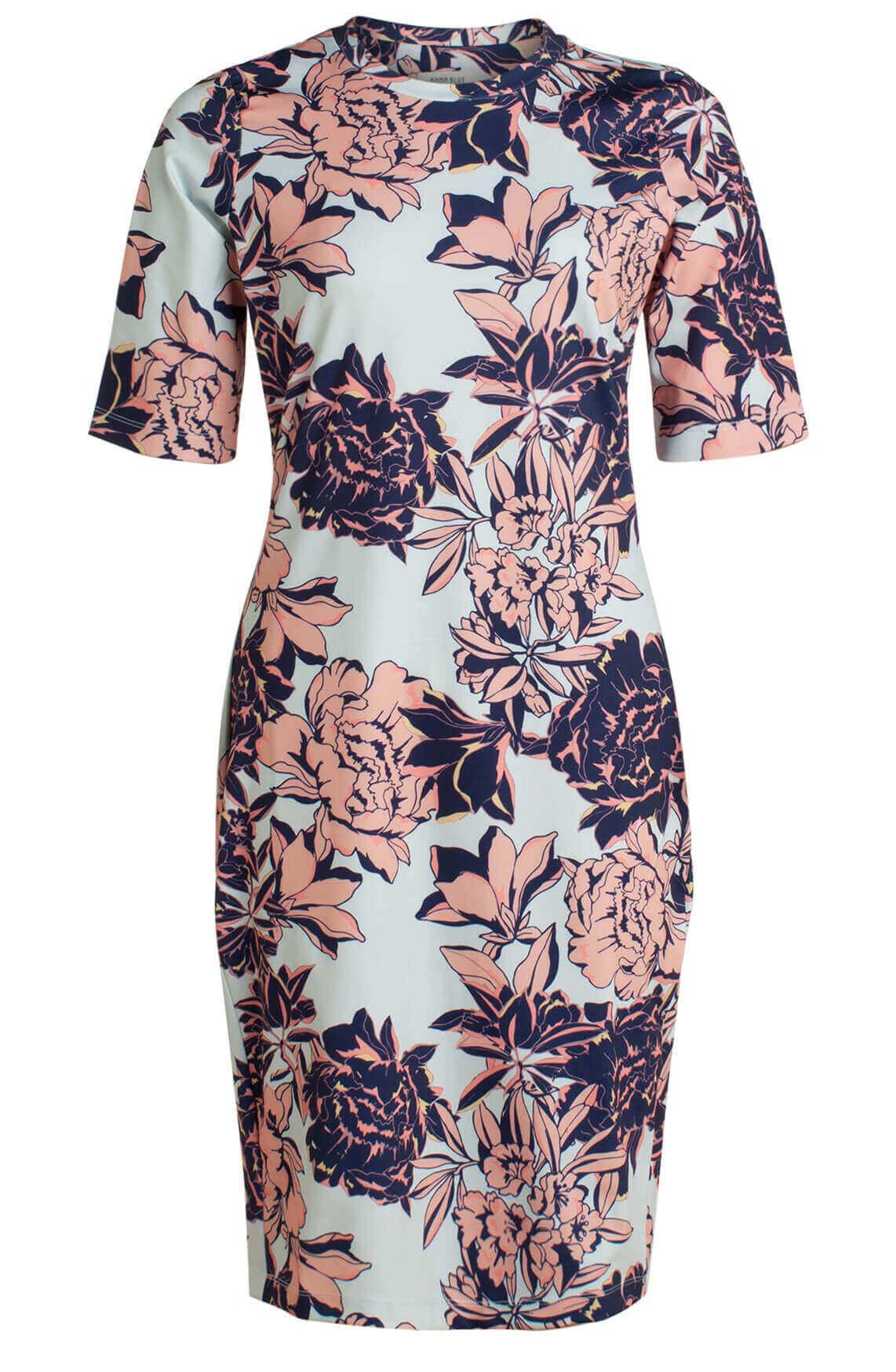 Anna Blue Dames Eurojersey jurk met floral print Blauw