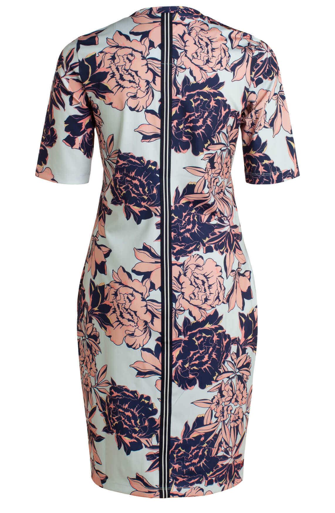 Anna Blue Dames Jersey sensitive jurk met floral print Blauw