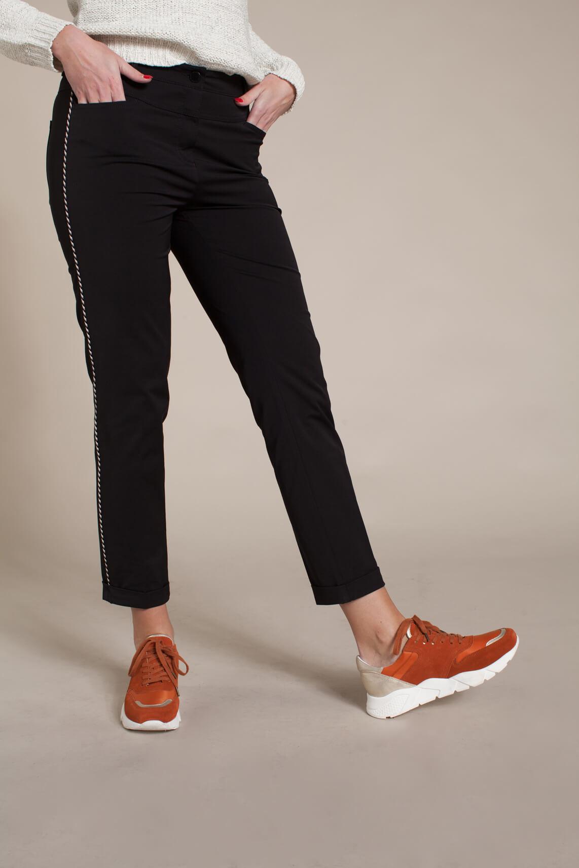 Rosner Dames Audrey broek met gevlochten bies zwart
