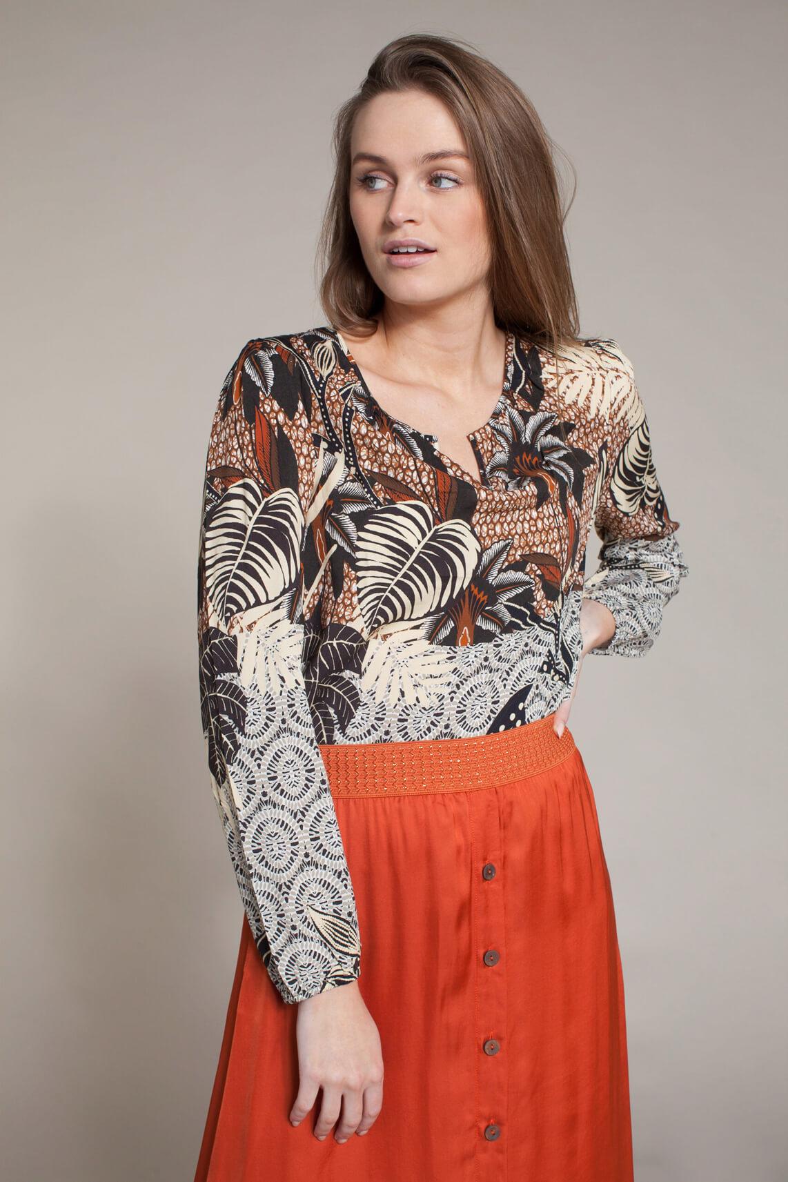 Anna Dames Geprinte blouse Bruin