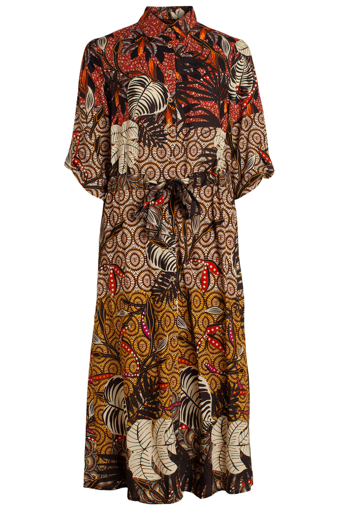 Anna Dames Geprinte jurk Bruin