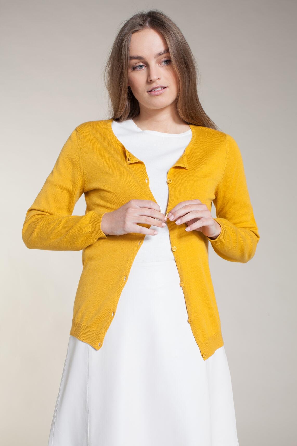 Anna Dames Fijngebreid vestje geel