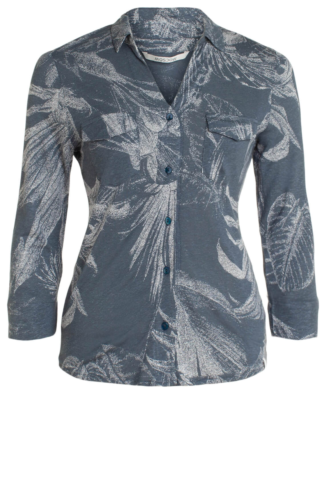 Moscow Dames Blouse met bladprint Blauw