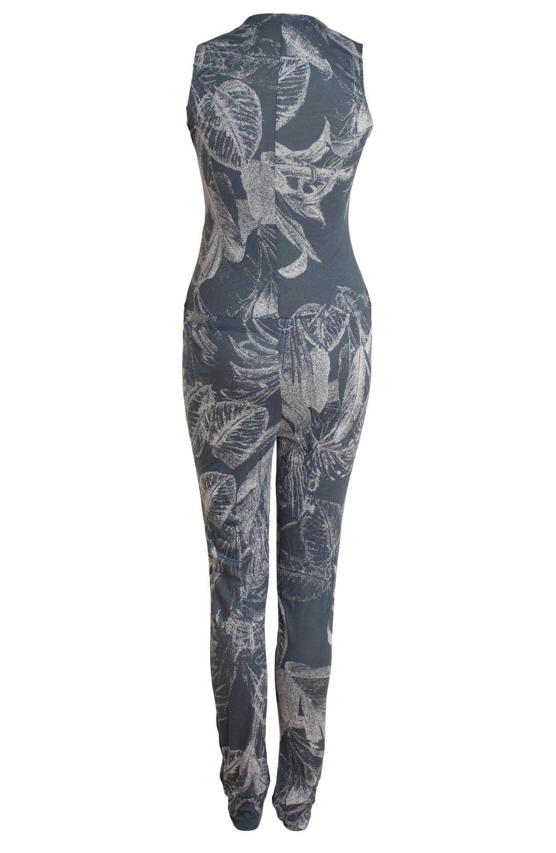 Moscow Dames Jumpsuit met bladprint Blauw