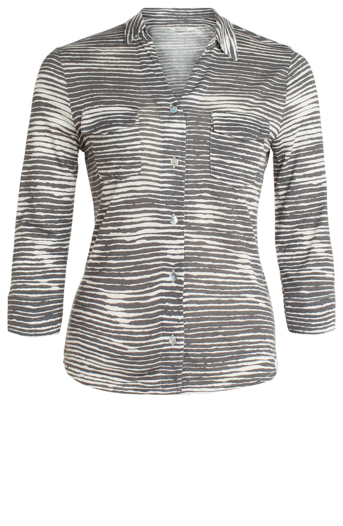Moscow Dames Blouse met streepdessin Grijs