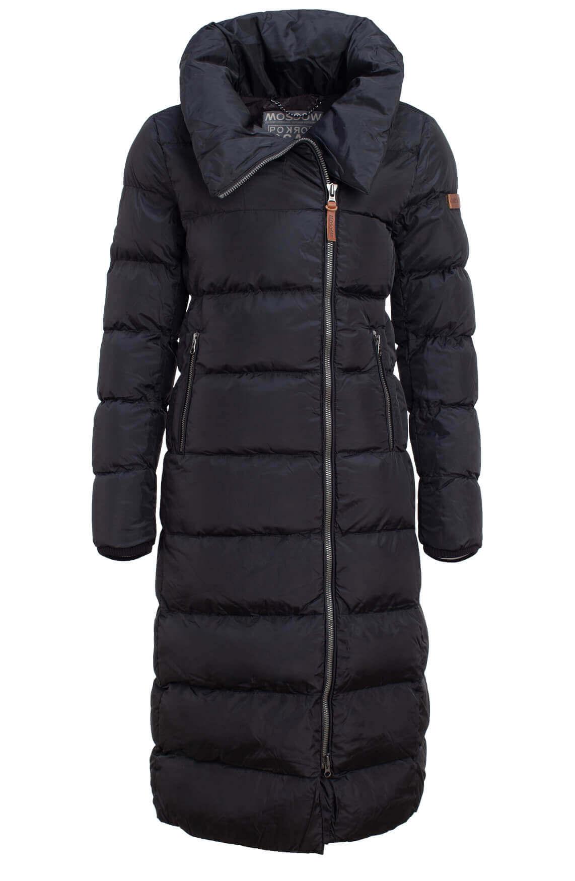 Moscow Dames Lange gewatteerde jas zwart