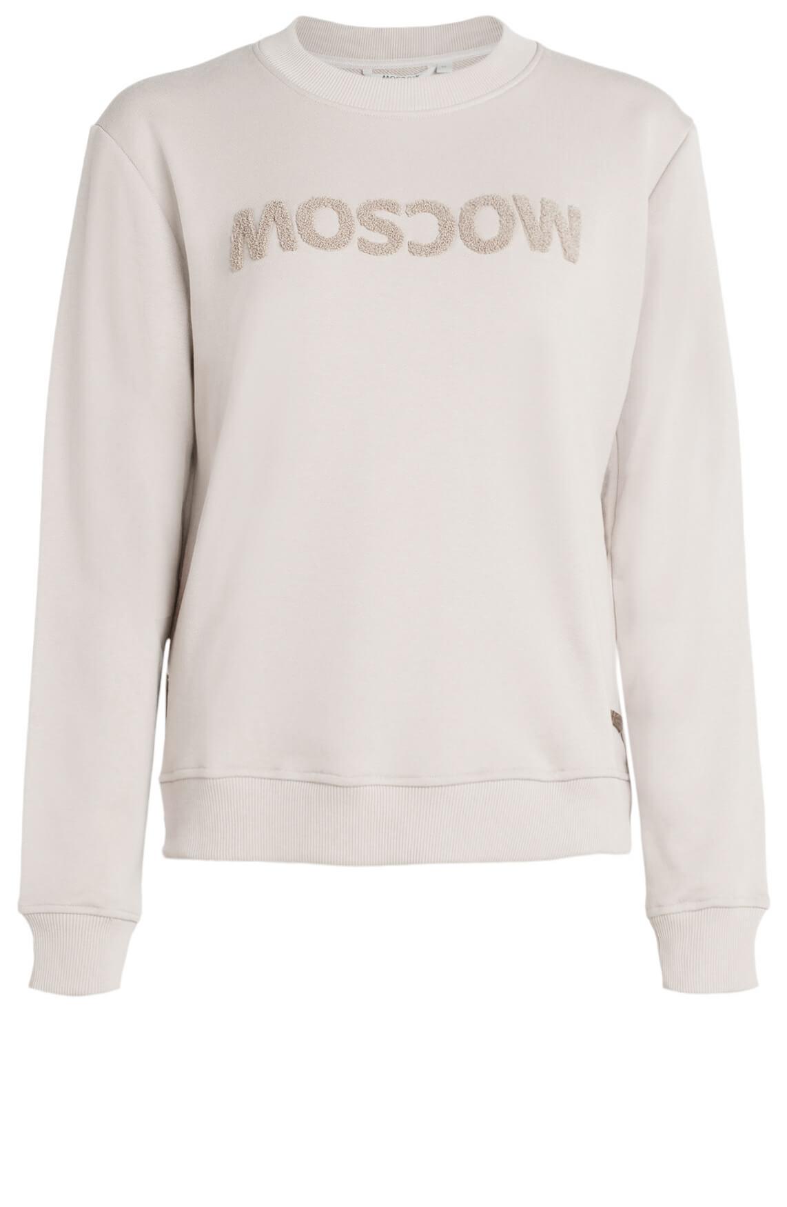 Moscow Dames Sweater met logo opdruk Ecru