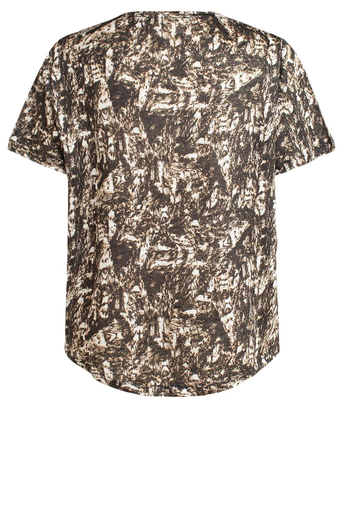 Moscow Dames Linnen shirt met print Ecru