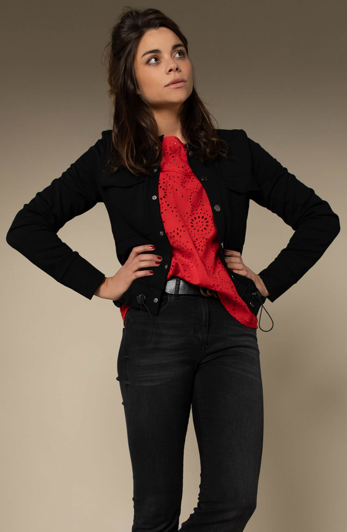 Anna Dames Broderie blouse Rood