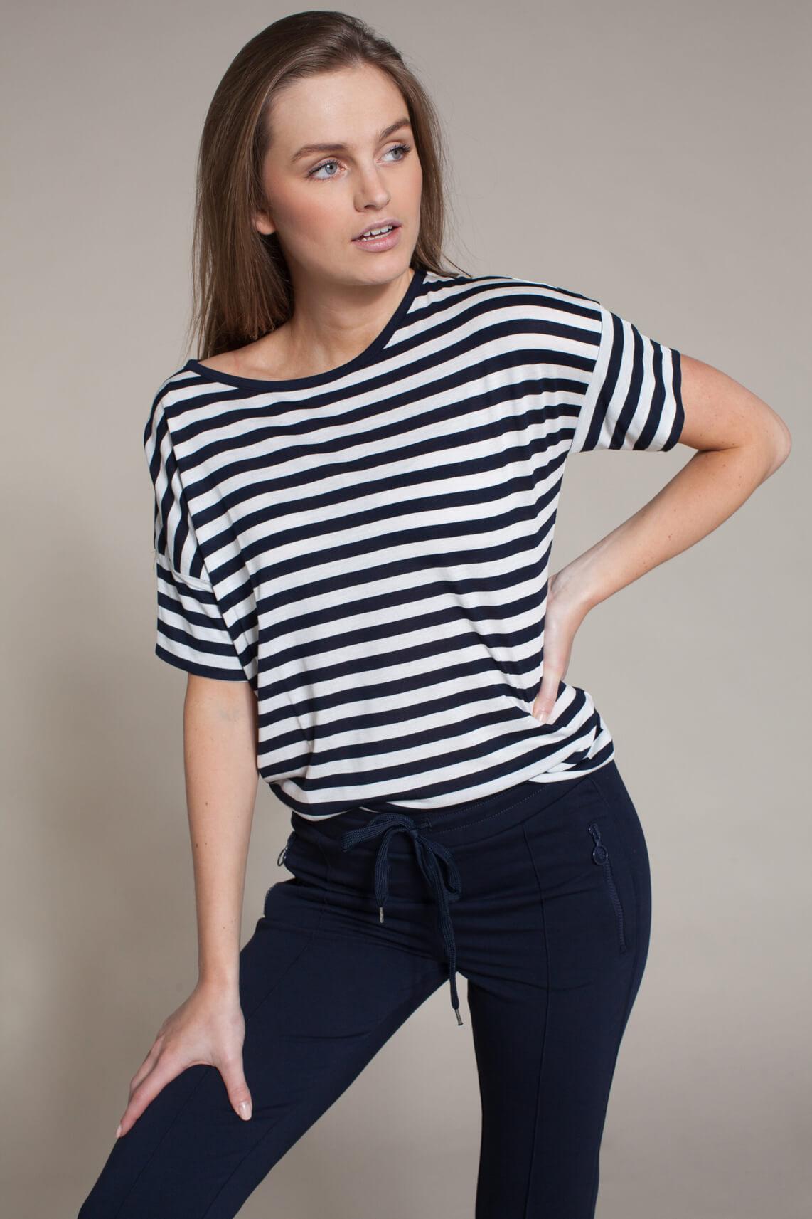 Anna Blue Dames Gestreept shirt Blauw