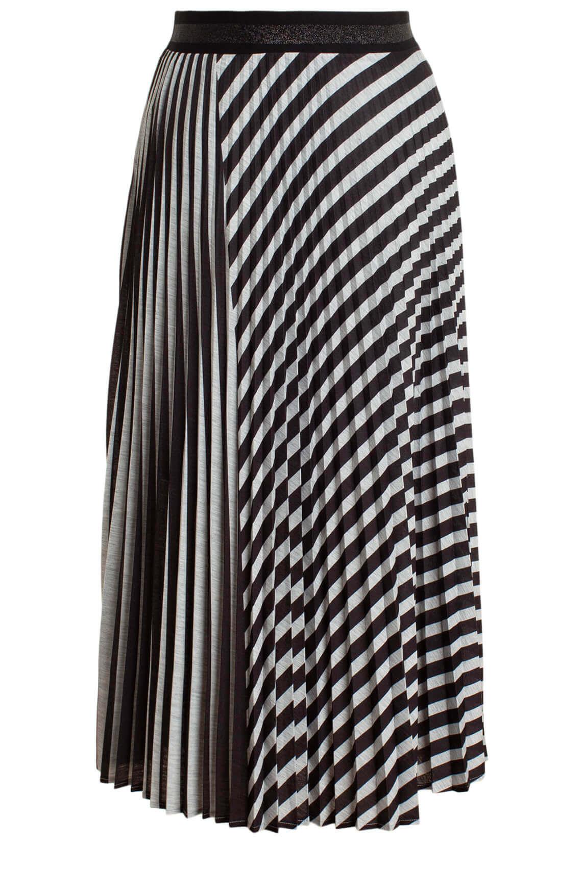 Anna Dames Gestreepte plissé rok zwart