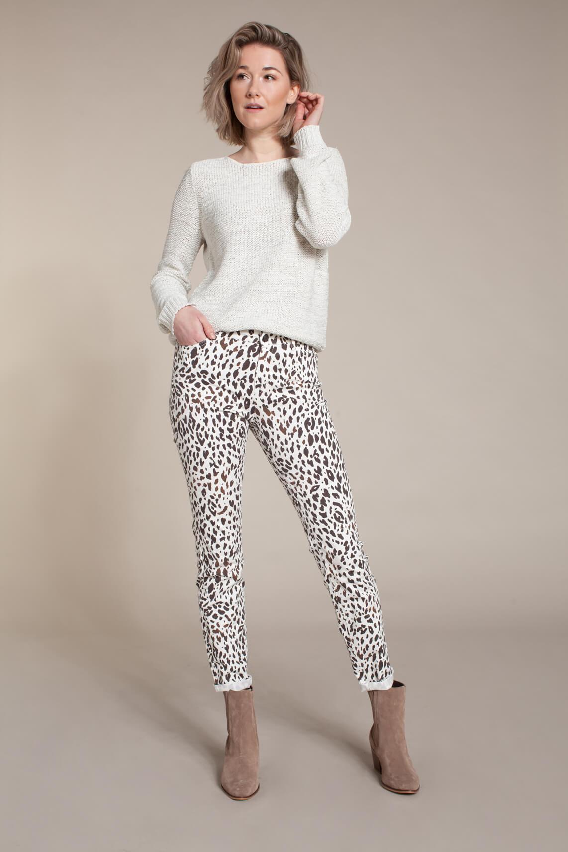 Anna Dames Pullover in bandgaren wit