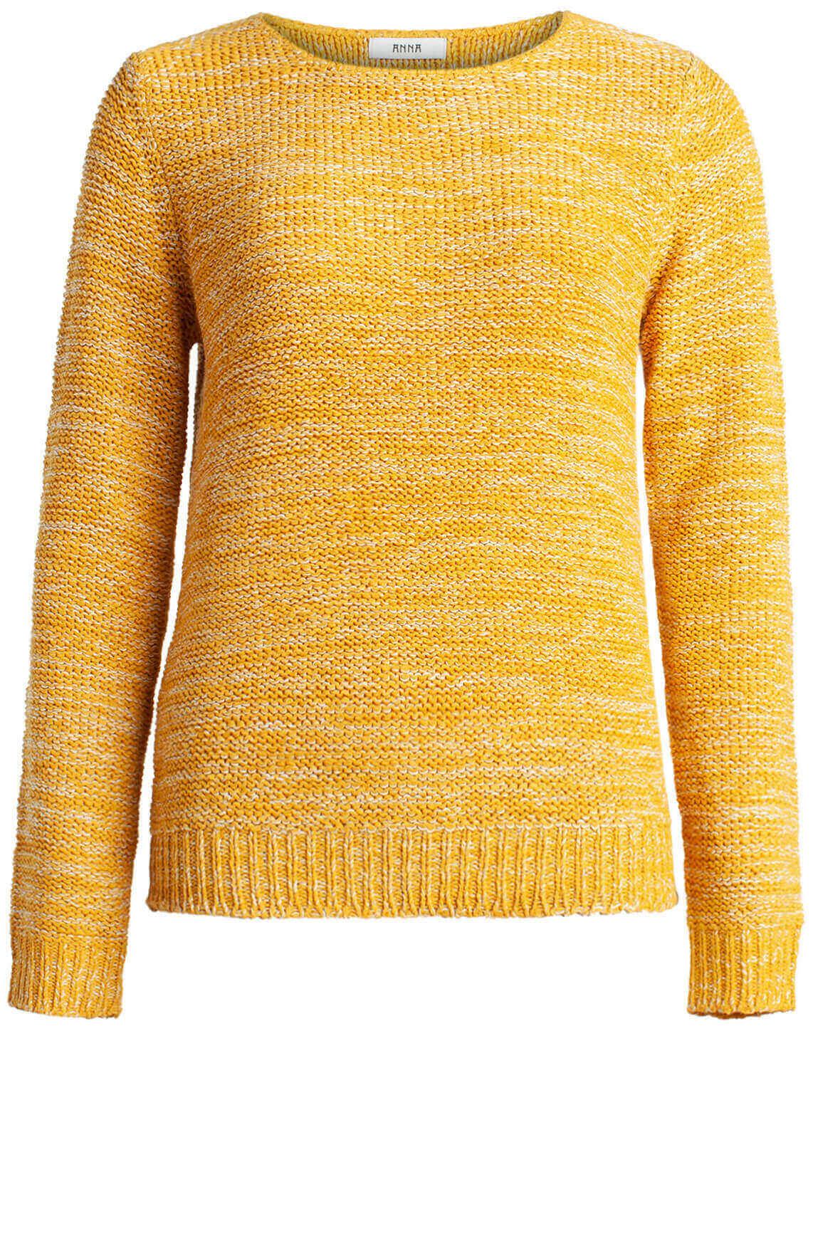 Anna Dames Pullover in bandgaren geel