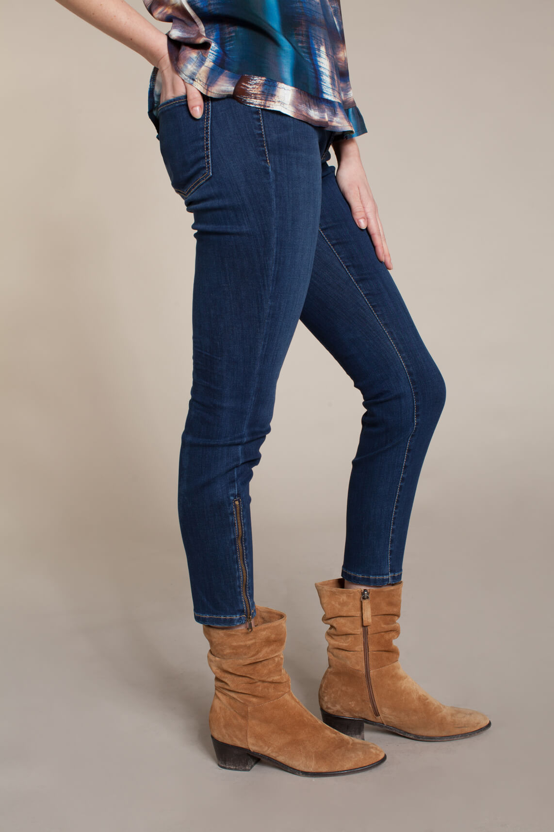 Cambio Dames Parla jeans met rits Blauw