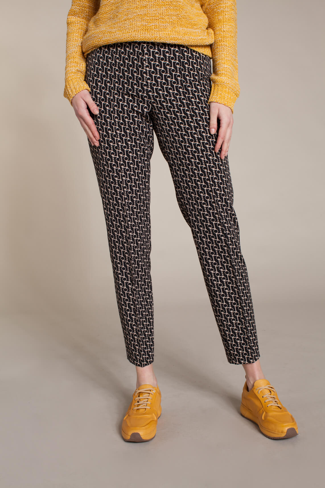 Cambio Dames Ros pantalon met print zwart