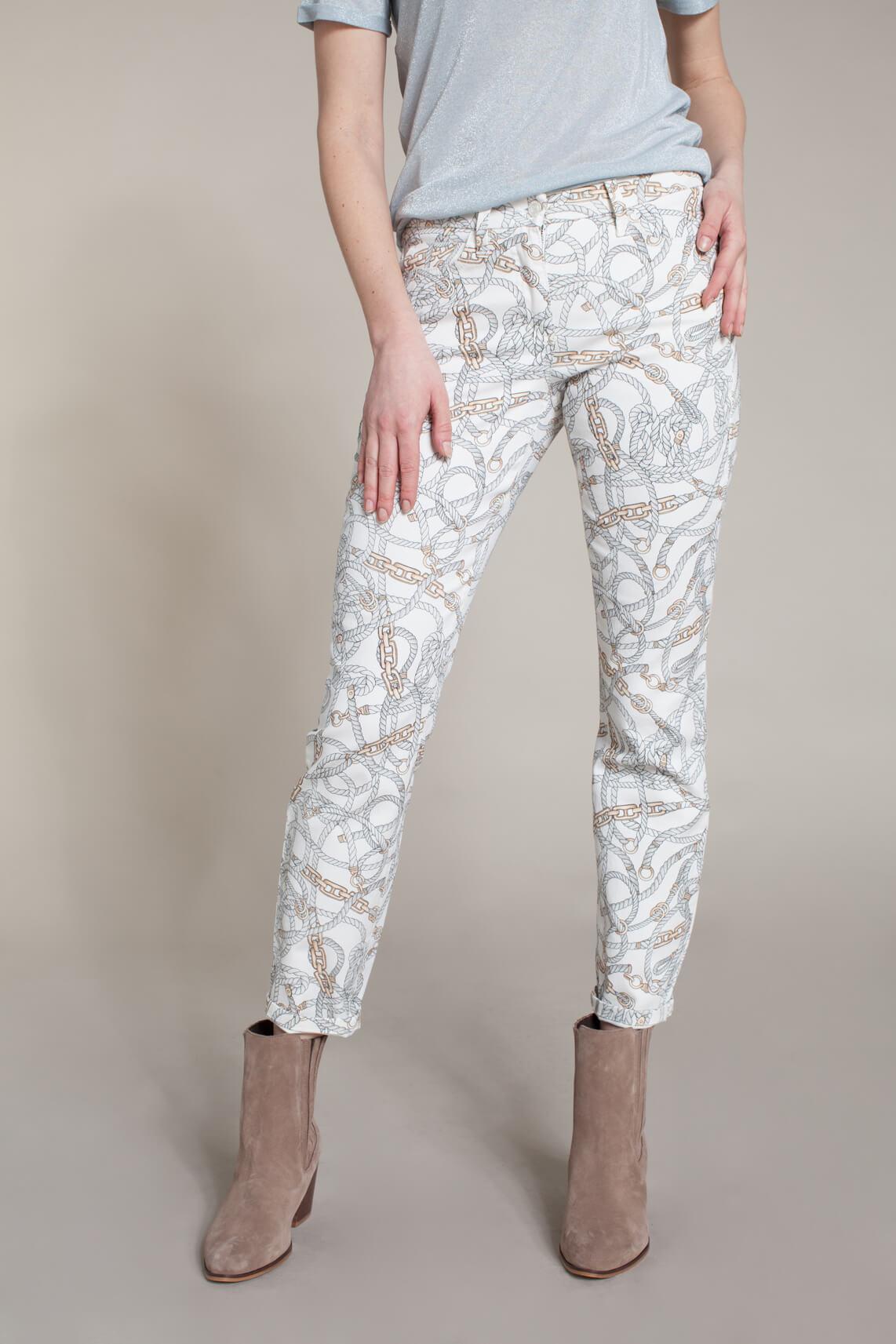 Cambio Dames Parla broek met kettingprint wit