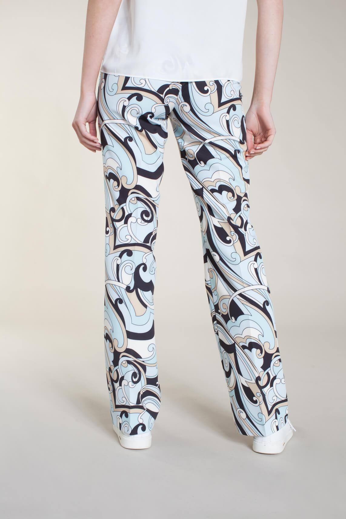 Cambio Dames Ros flared pantalon met print Blauw