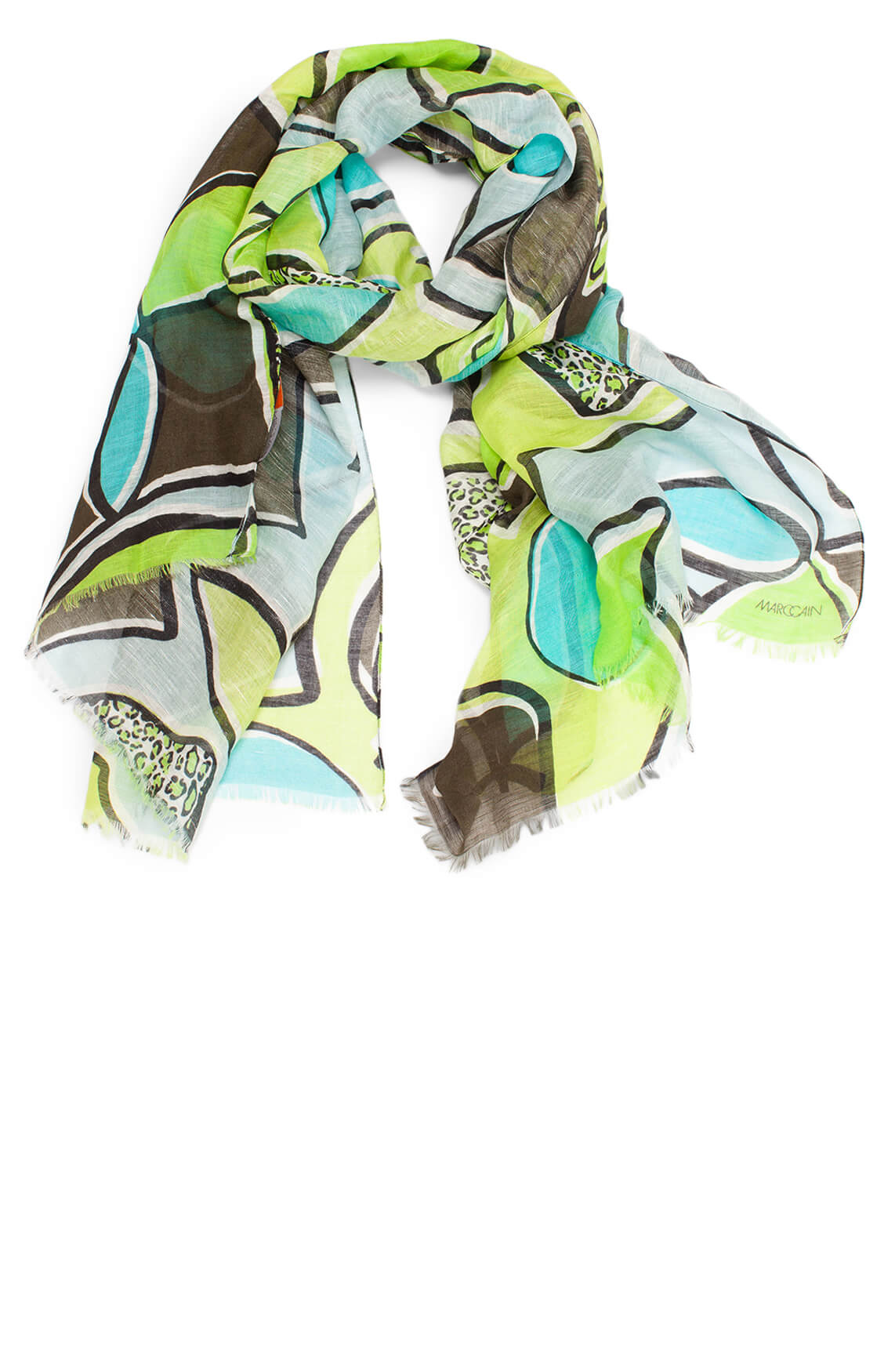 Marccain Sports Dames Citroenprint shawl groen