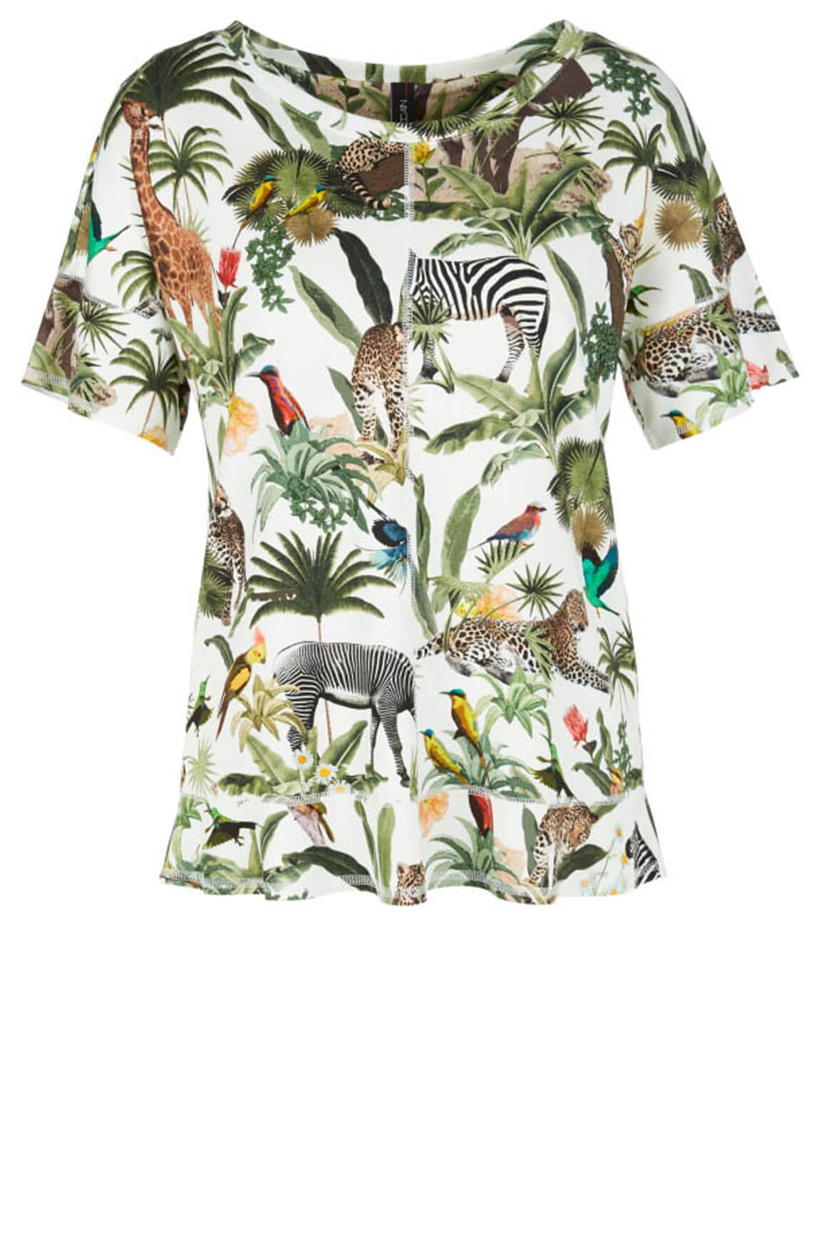 Marccain Dames Shirt met jungleprint wit