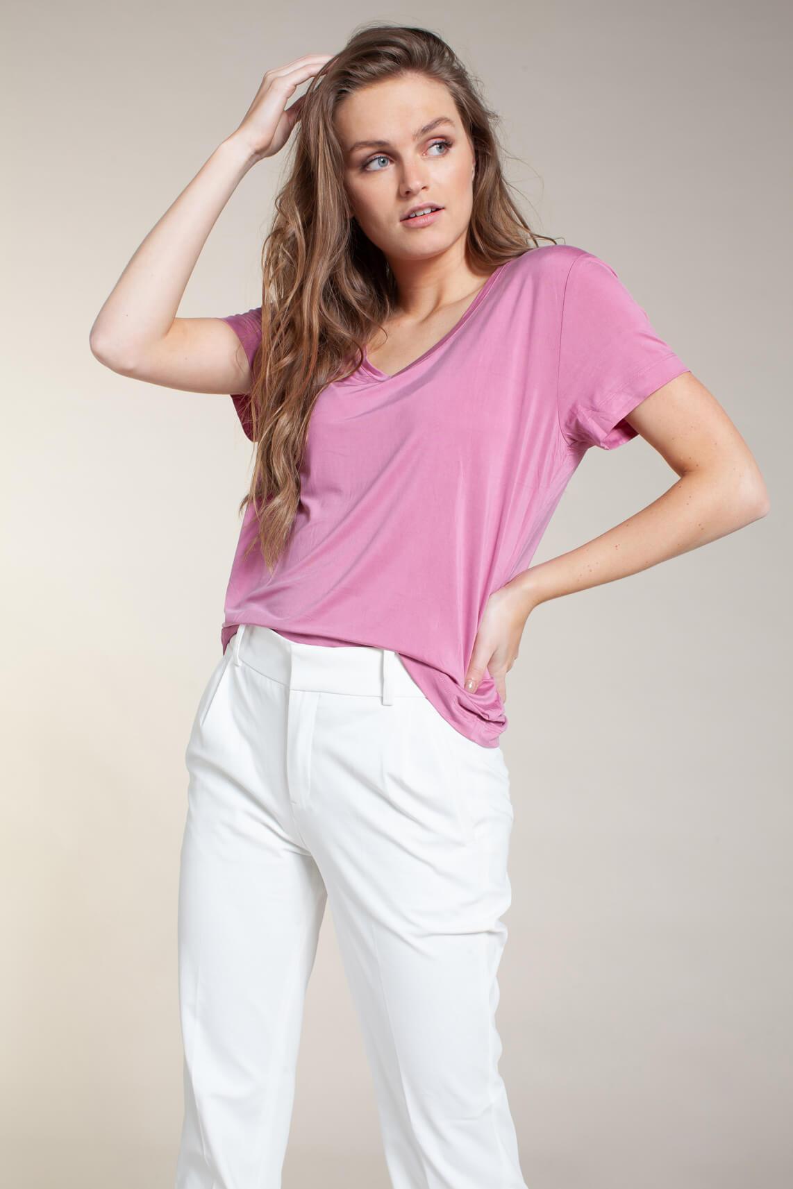 Samsoe Samsoe Dames Siff V-neck shirt roze