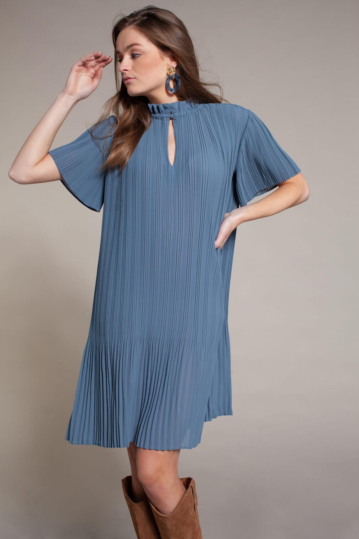 Samsoe Samsoe Dames Lady plissé jurk Blauw