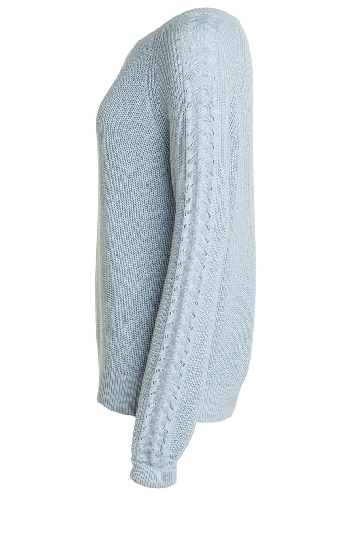 Anna Blue Dames Grofgebreide trui met patroon Blauw