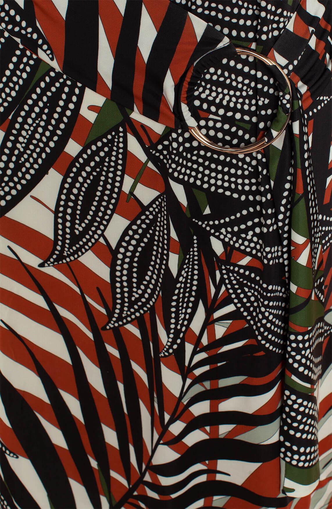 Ana Alcazar Dames Zadin jurk met bladprint zwart