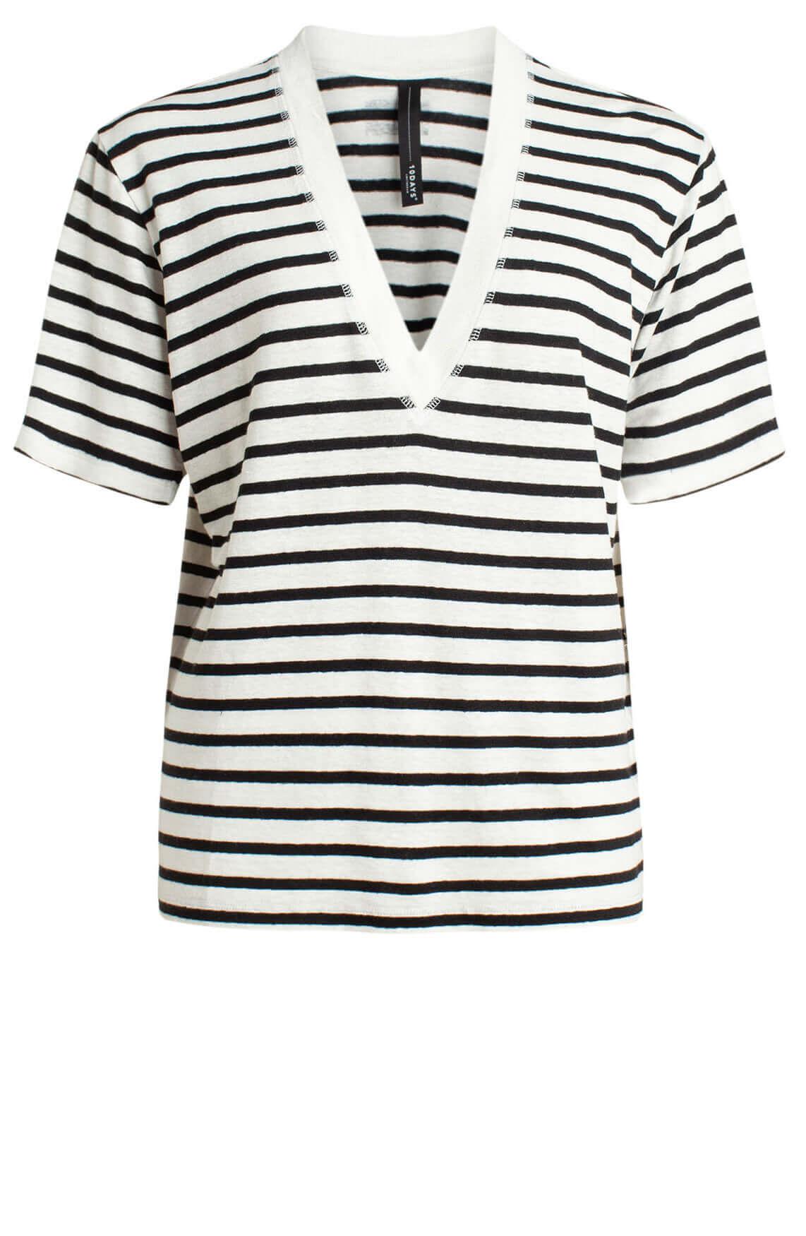 10 Days Dames Gestreept linnen shirt met korte mouw Ecru